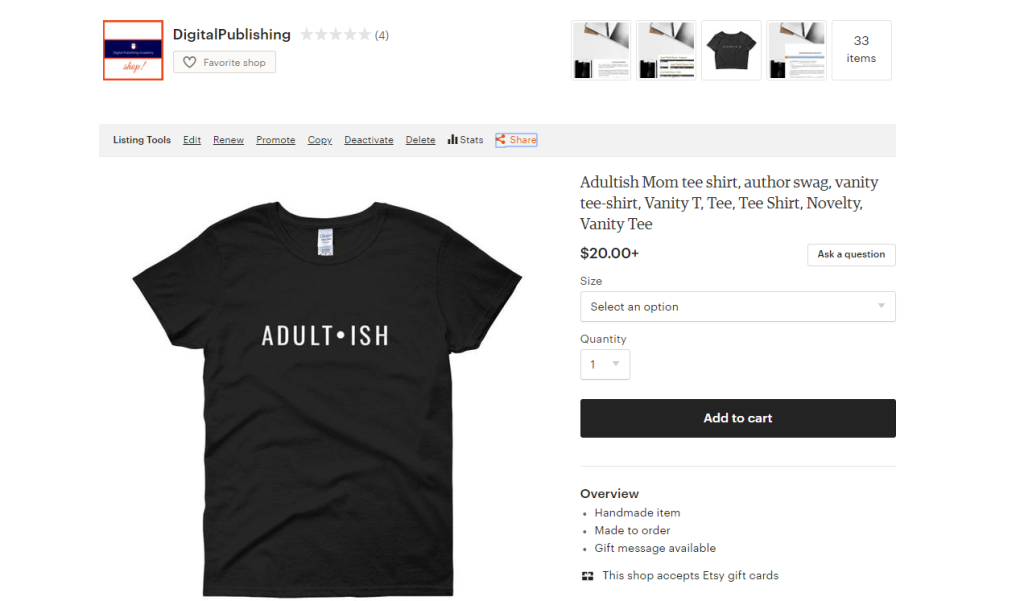 Adultish Mom tee shirt author swag vanity tee shirt Vanity   Etsy (1)